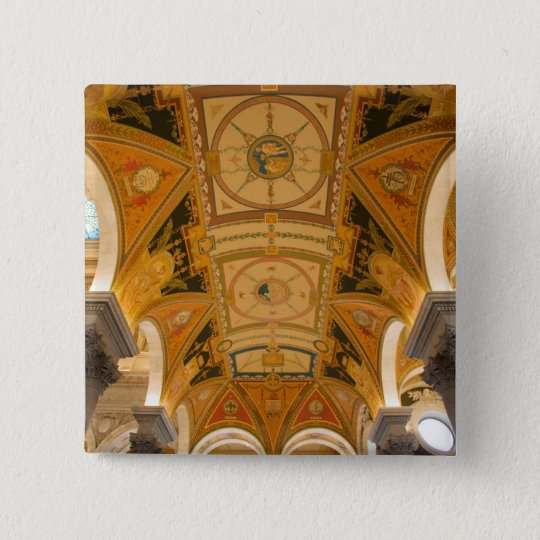WASHINGTON, D.C. USA. Ceiling of second floor Pinback Button