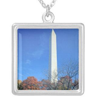 WASHINGTON, D.C. USA. Washington Monument rises Silver Plated Necklace