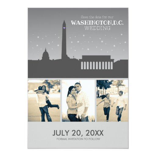 Washington D.C. Wedding Save-the-date 5x7 Paper Invitation Card