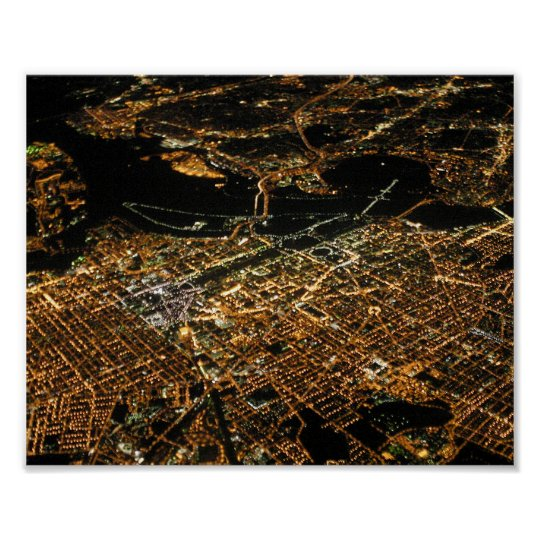 Washington DC Aerial Night 8x10 Poster