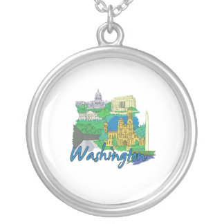 washington dc america city travel graphic vacation round pendant necklace