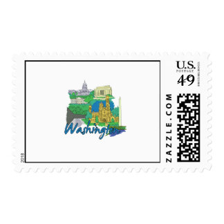 washington dc america city travel graphic vacation postage stamps