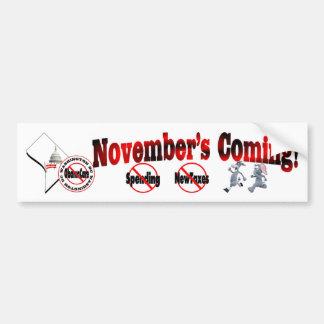 Washington DC Anti ObamaCare – November's Coming! Bumper Sticker