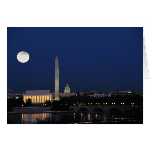 Washington DC at Night Greeting Cards