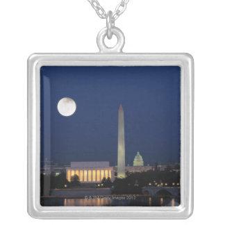 Washington DC at Night Square Pendant Necklace