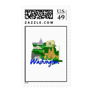 washington dc blue green america city travel vacat postage stamp