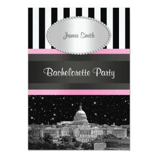 Washington DC BW Strp Pink Bachelorette Card