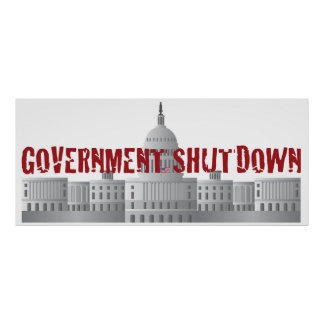 Washington DC Capitol Building Government Shutdown Poster