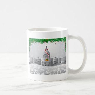 Washington DC Capitol Christmas Scene Illustration Coffee Mug