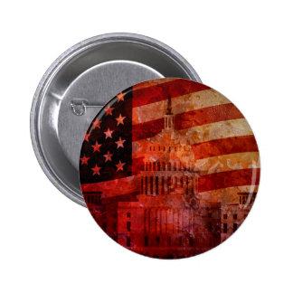 Washington DC Capitol US Flag Grunge Background Button