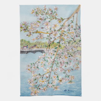 Washington DC Cherry Blossoms Watercolor Painting Hand Towels