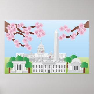 Washington DC con el poster de las flores de cerez