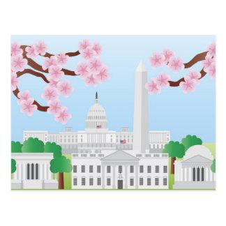 Washington DC con la postal de las flores de cerez