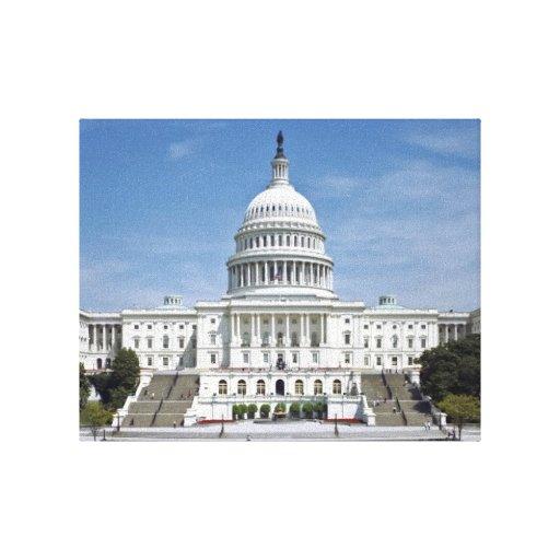 Washington DC del edificio del capitolio de los E. Impresiones En Lona Estiradas