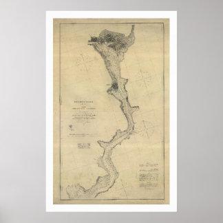 Washington DC del mapa del río Potomac - 1864 Póster