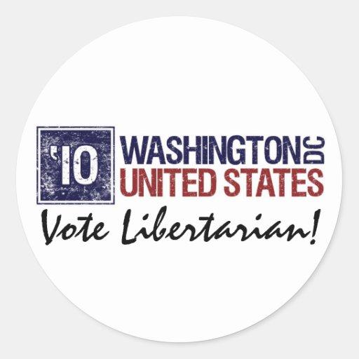 Washington DC del vintage del libertario del voto Pegatina Redonda