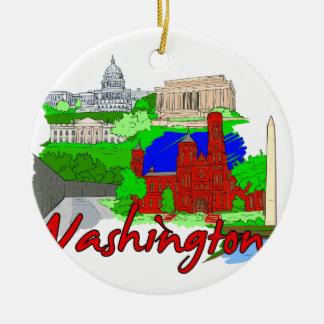 Washington DC - distrito de Columbia - USA.png Adorno Navideño Redondo De Cerámica