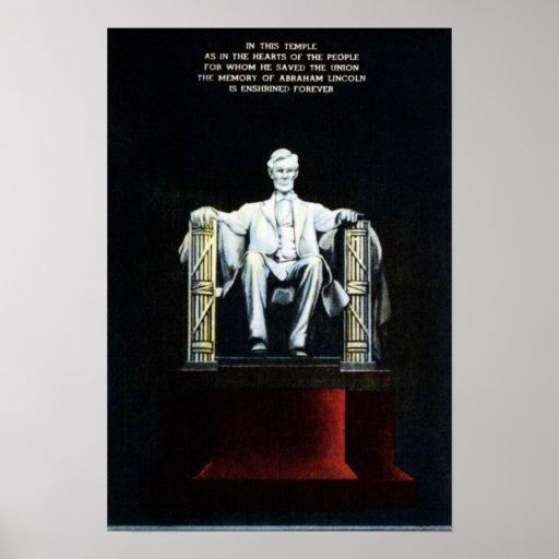 Washington DC el Lincoln memorial en la noche con  Póster