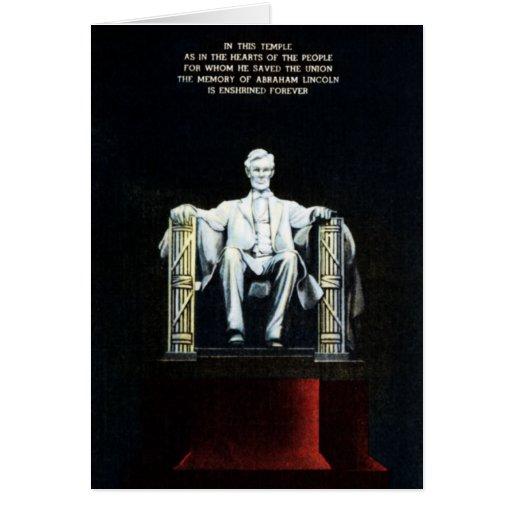Washington DC el Lincoln memorial en la noche con  Tarjeta De Felicitación