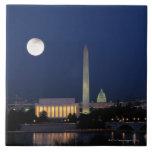 Washington DC en la noche Azulejo Cuadrado Grande