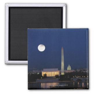 Washington DC en la noche Imán Cuadrado