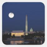 Washington DC en la noche Pegatina Cuadrada