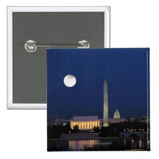 Washington DC en la noche Pin Cuadrada 5 Cm