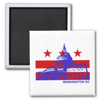 Washington DC Flag 2 Inch Square Magnet