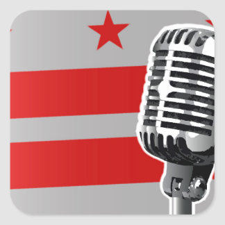 Washington DC Flag And Microphone Square Sticker