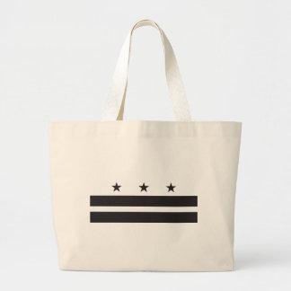 Washington DC Flag - Black Large Tote Bag