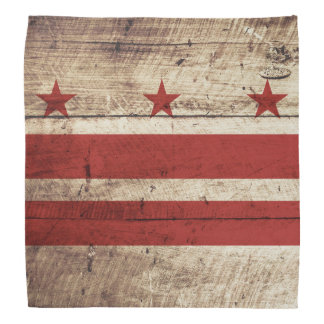 Washington DC Flag on Old Wood Grain Bandana