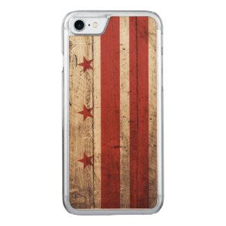 Washington DC Flag on Old Wood Grain Carved iPhone 7 Case