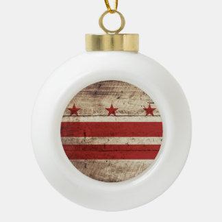 Washington DC Flag on Old Wood Grain Ceramic Ball Christmas Ornament