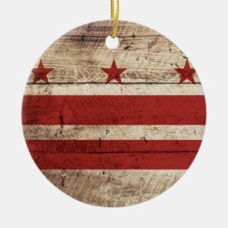 Washington DC Flag on Old Wood Grain Ceramic Ornament