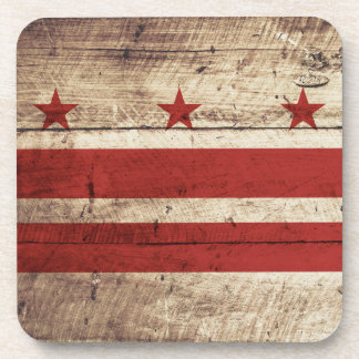 Washington DC Flag on Old Wood Grain Coaster
