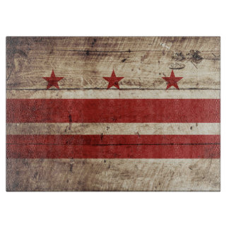 Washington DC Flag on Old Wood Grain Cutting Board