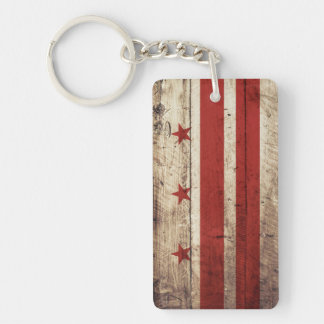 Washington DC Flag on Old Wood Grain Double-Sided Rectangular Acrylic Keychain