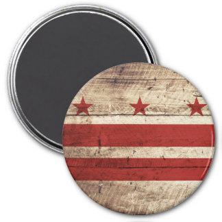 Washington DC Flag on Old Wood Grain Magnet