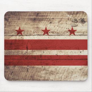 Washington DC Flag on Old Wood Grain Mouse Pad