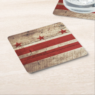 Washington DC Flag on Old Wood Grain Square Paper Coaster
