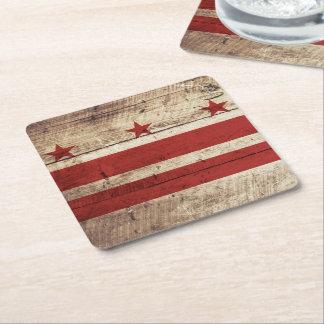 Washington DC Flag on Old Wood Grain Square Paper Coaster