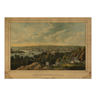 Washington DC Georgetown Antique Panoramic Map Poster
