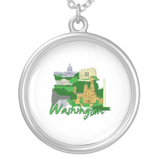 washington dc  green america city travel vacation. round pendant necklace