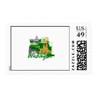 washington dc  green america city travel vacation. postage stamp