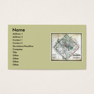 Washington DC  Map and Flag Business Card