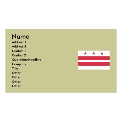 Washington DC  Map and Flag Double-Sided Standard Business Cards (Pack Of 100)