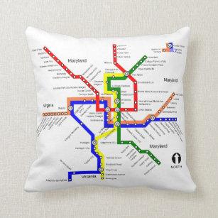 Dc Subway Map Pillow.Washington Metro Home Decor Furnishings Pet Supplies Zazzle