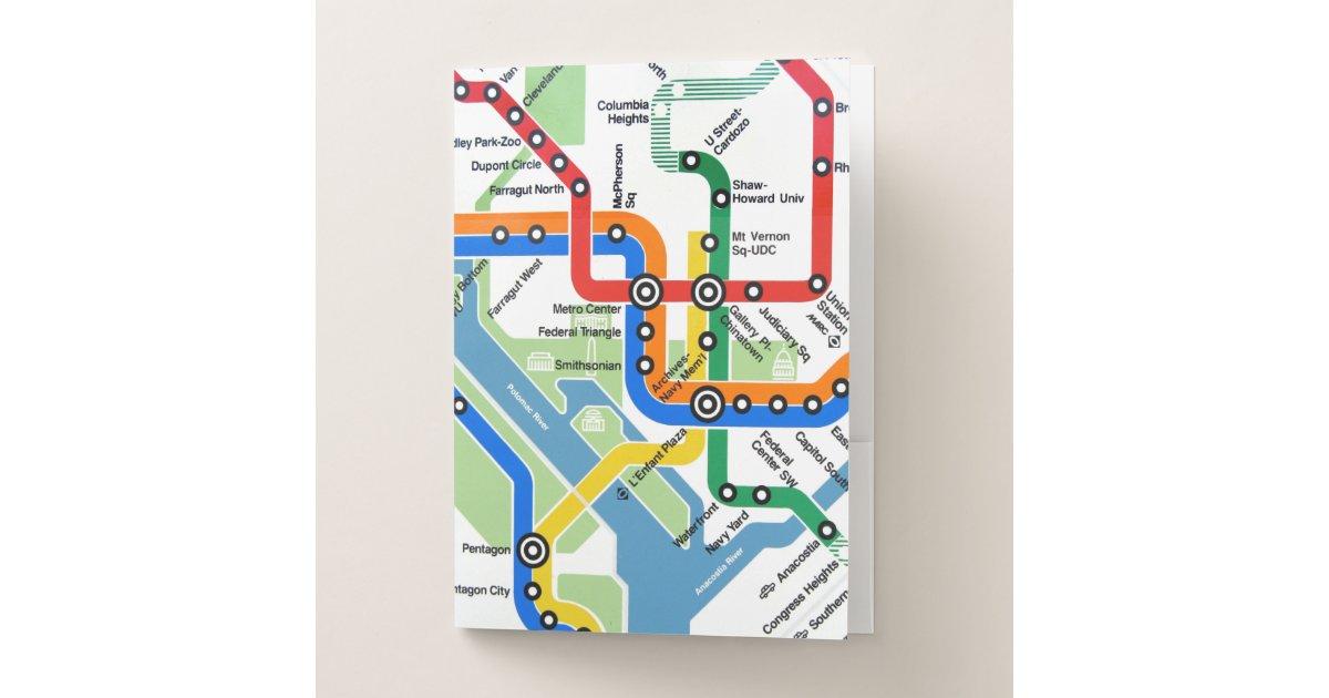 Washington Heights Subway Map.Washington Dc Metro Subway Map Pocket Folder Zazzle Com