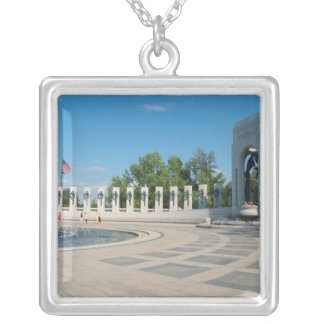 Washington, DC, National WWII Memorial Silver Plated Necklace