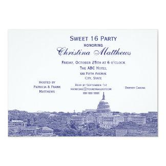 Washington DC Navy Skyline Silhouette Sweet 16 Card